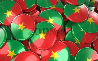 Burkina Faso Badges Background - Pile of Burkina Faso Flag Buttons.