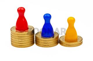 Spielfiguren auf Münzen