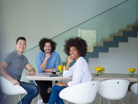 Multiethnic startup Business Team At A Meeting at modern office building