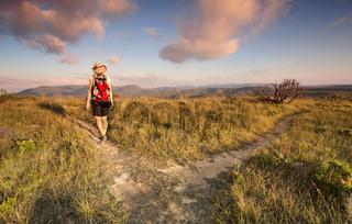 Female bushwalker hiking in the Blue Mountains