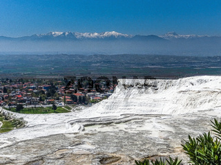 White terraces from Travertin, marble and gypsum in Pamukkale, Turkey