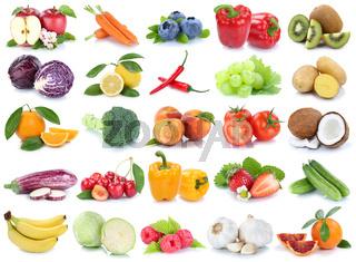 Obst und Gemüse Früchte Apfel Orange Tomaten Banane frische Collage Freisteller freigestellt isoliert