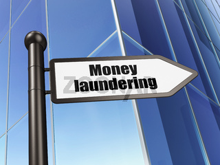 Banking concept: sign Money Laundering on Building background