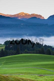 Stillachtal mit Frühnebel, bei Oberstdorf, Oberallgäu, Bayern, Deutschland, dahinter Toreck, 2029m, Vorarlberg, Österreich, Europa