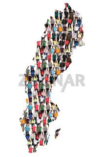 Schweden Karte Leute Menschen People Gruppe Menschengruppe multikulturell