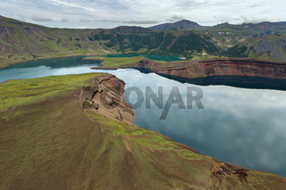 Lake in the Caldera volcano Ksudach. South Kamchatka Nature Park.