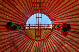 Hole in a yurt roof