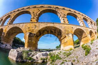 Aqueduct Pont du Gard.  Photo taken fisheye lens