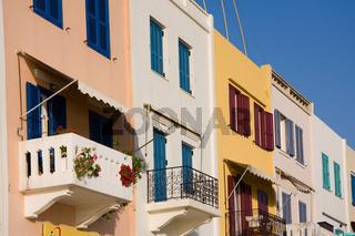 bunte Häuser in Chania