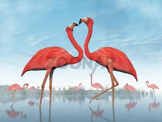 Flamingos courtship - 3D render
