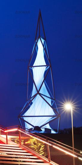 illuminated Phaenomenta tower in the evening, Luedenscheid, North Rhine-Westphalia, Germany, Europe