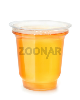 Plastic cup of fruit jelly dessert