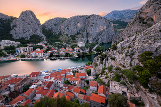 Aerial View on Omis Old Town and Cetina River Gorge, Dalmatia, Croatia