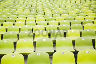 Sitzplaetze im Olympiastadium Muenchen, Bayern, Deutschland, Europa, seating row in olympic stadion, bavaria, germany