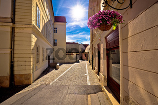 Colorful street of baroque town Varazdin view
