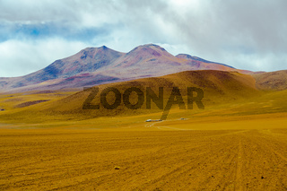 View of mountain and desert in Salar de Uyuni