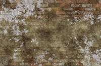 Old vintage dirty brick wall with peeling plaster