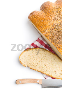 Sliced loaf of bread.