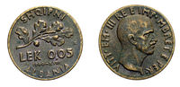 five 5 cents LEK Albania Colony acmonital Coin 1940 Vittorio Emanuele III Kingdom of Italy,World war II