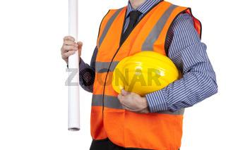 Building Surveyor in orange visibility vest carrying yellow hard hat