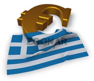 eurosymbol und griechische flagge - 3d rendering