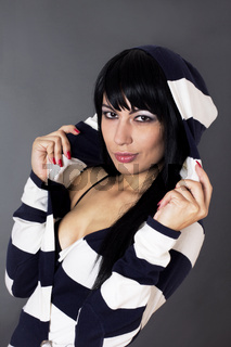 Sexy female with long black hair.