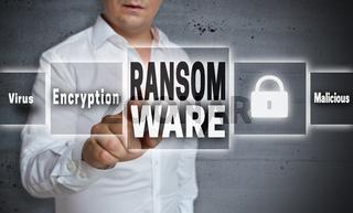 Ransomware konzept hintergrund wird von mann gezeigt