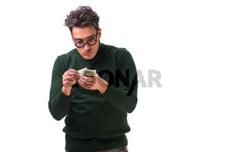 Young man with money isolated on white