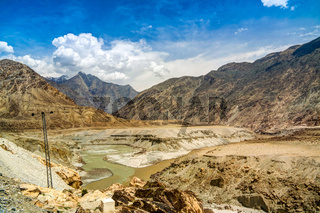 Confluence of Gilgit and Indus rivers, Gilgit-Baltistan Pakistan