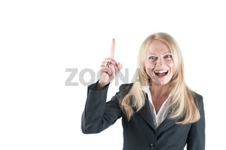 Frau mit erhobenem Zeigefinger