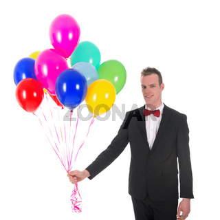 Young man with balloons