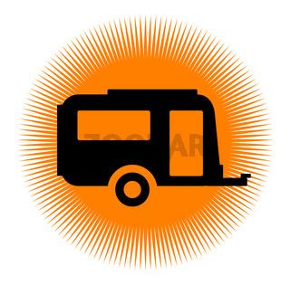 Caravan Icon with Sun
