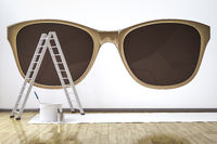 a room with stylish sunglasses motive on the wall