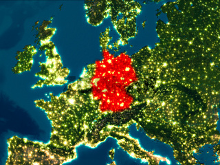 Germany in red at night