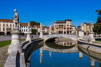 Canal with statues on prato della Valle in Padova Italy