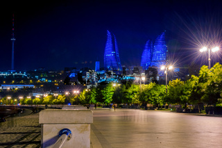 Baku downtown and flame towers at night