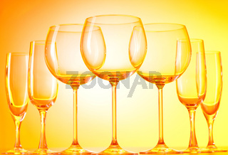 Wine glasses against gradient background