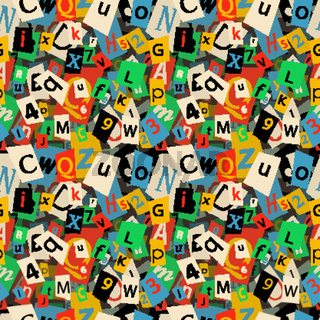 Colorful newspaper letters, seamless pattern