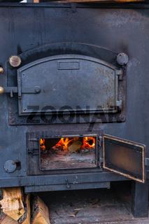 Mobile metal kitchen stove