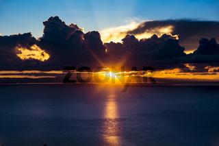 Sunrise at Amantani island from Lake Titicaca, Peru, South America