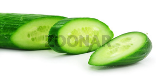 Slices of fresh green cucumber isolated