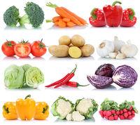 Gemüse Tomaten Karotten Paprika Salat Collage Freisteller freigestellt isoliert