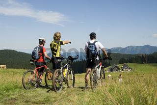 Mountainbiker am Ebenforst Nationalpark Kalkalpen, Oberösterreich, Österreich