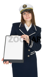 Beautiful woman - sailor on white background, with tablet in hands