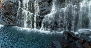 Baker's Fall Waterfall mountain landscape Horton Plains National Park Sri Lanka.