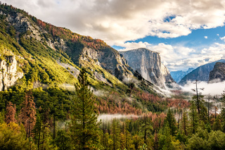 Yosemite Valley at cloudy autumn morning