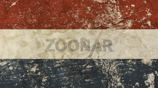 Old grunge vintage faded flag of Netherlands