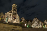 Market place in Schwaebisch Hall by Night, Germany