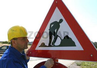 Einrichten einer Strassenbaustelle