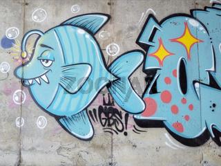 Fisch Graffiti auf der Kanareninsel La Palma